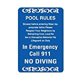 HSSS Pool Rules Activity Sign Pool Rules, Schild Pool Rules, Aluminium, 20,3 x 30,5 cm