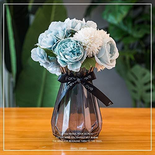 Jnseaol Kunstblumen Gefälschte Blume DIY Kreative Hochzeit Küche Dekoration Glas Topf Blaue Blume -08