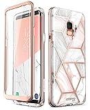 i-Blason Hülle Kompatibel für Samsung Galaxy S9 Glitzer 360 Grad Handyhülle Bumper Case Glänzend Schutzhülle Full Cover [Cosmo] mit integriertem Displayschutz, Marmor