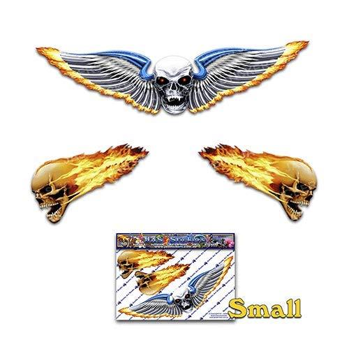 Schädel Flügel kleine unheimlich lustige Autoaufkleber Motorrad Vinyl Aufkleber ST00020_SML - JAS Aufkleber