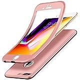 Kompatibel mit iPhone 8 Plus Hülle,iPhone 7 Plus Hülle,Full-Body 360 Grad Panzerglas Schutzfolie TPU Silikon Hülle Handyhülle Tasche Case Front Cover Schutzhülle für iPhone 8 Plus/7 Plus,Rose Gold
