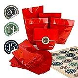 Calendrier de l'Avent en papier kraft avec autocollants ronds de 4 cm Beige/marron/vert avec chiffres vintage de 1 à 24 motifs de Noël 24 Stück...