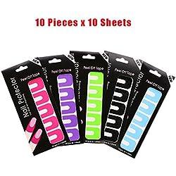 G2Plus desechables uñas Peel Off cintas 100pcs en 5colores, uñas pintura guía Mess Saver uñas arte herramienta básica accesorios