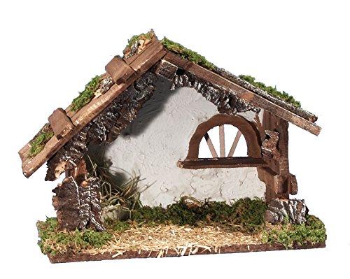 BERTONI im Chalet-Stil leer Holz Krippe Hütte mit Fenster, Holz, Mehrfarbig, 30x 14x 22cm