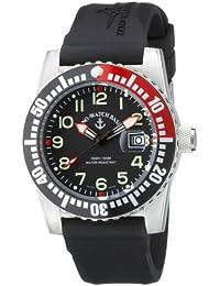 Zeno Watch Basel Airplane Diver Quartz 6349-515/RD - Reloj de caballero de cuarzo con correa de goma negra