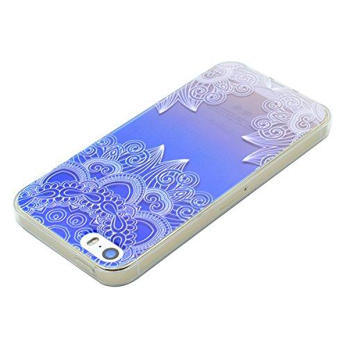 Coque iPhone 5 Silicone, LuckyW Housse Etui TPU Silicone Clear Clair Transparente Gel Slim Case pour Apple iPhone 5 5S SE Soft de Protection Cas Bumper Cover Converture Anti Poussières Couvercle Anti  Fleur bleue