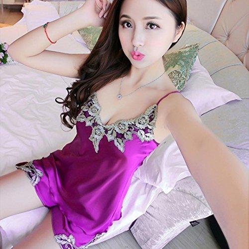 Bretelles De Soie Sexy Brodé Simulation Couture Pyjama Rawdah Femmes Sexy Spaghetti Sangle Dentelle Ourlet Robe Chemise De Nuit Vêtements De Nuit Vêtements De Nuit Violet
