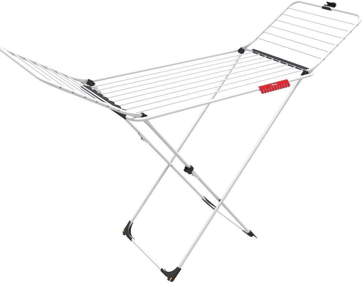 Vileda Extra – Tendedero X-legs de acero y aluminio, con alas plegables, 20 metros de espacio de tendido, con soporte para artículos pequeños, dimensiones abierto 173 x 56 x 93 cm, color blanco