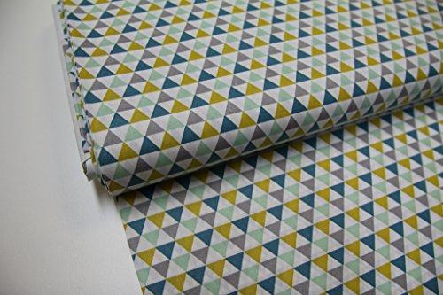 stoff-kinder-meterware-ab-25cm-beschichtete-baumwolle-dreiecke-senf-grau-grun
