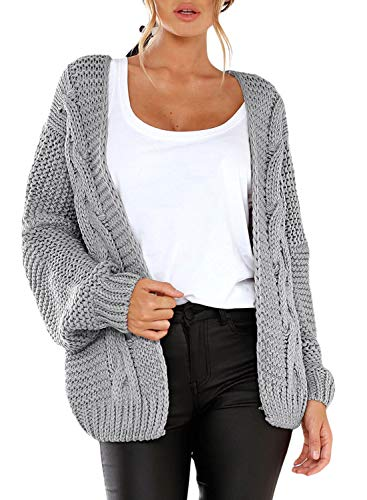 Aleumdr Strickjacke Damen Grobstrick Strickmantel strickcardigan Damen Herbst Winter Casual Open Front Sweater Cardigan Cover Up Patchwork Outwear S-XXL, Grau, Large (EU42-EU44)