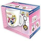 Sailor Moon - Keramik Tasse Riesentasse 460 ml + Schlüsselanhänger + 2 Buttons - Logo - Geschenkset