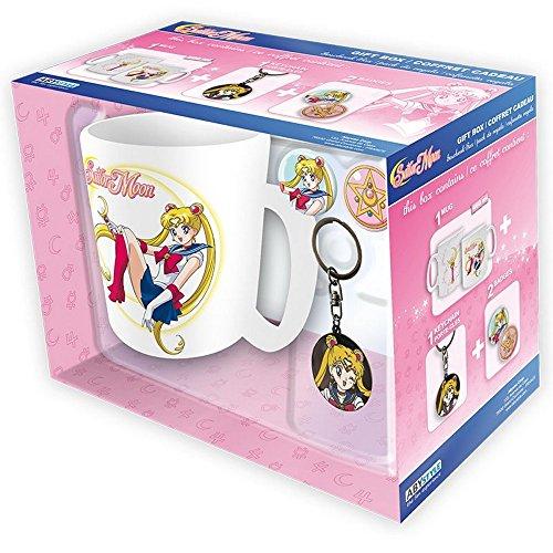 Sailor Moon - Keramik Tasse Riesentasse 460 ml + Schlüsselanhänger + 2 Buttons - Logo - Geschenkset (Button Moon Kostüm)