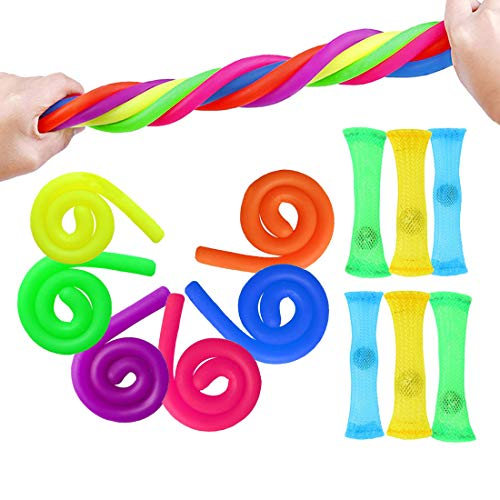 OKSANO Sensory Fidget Toy 12PCS Colourful Stretchy String Toys Bundle for Kids Adults Teens ADHD, ADD, OCD, Autism (BPA/Phthalate/Latex-Free)