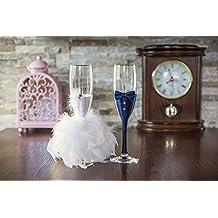 Hecho a mano azul marino lazo Emplumada tostado copas de champán 5x21 azul