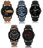#10: Victance New Aditon Stylist Watches With Multicolor Dial and Multicolor Leather Straps Casual Stylist Combo Watch For Boys and Men(Pack of 5 Watches).