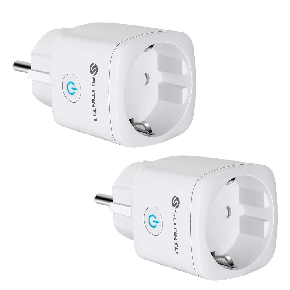 Enchufe Inteligente Wifi Compatible con Alexa Echo,Google Home y IFTTT, SLITINTO Inalámbrico Smart Mini Zócalo con Control Remoto, Establecer Horario,Monitor Energía, No necesitas de Hub,16A – 2 Pcs