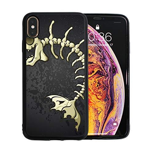 WYYWCY Sardine Fisch Skelett Form der Fische Apple Telefon Xs Max Case Screen Protector TPU Hard Cover mit dünnem stoßfestem Stoßfänger Schutzhülle für Apple Phone Xs Max 6,5 Zoll Fishbone Case Cover