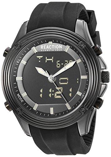 Kenneth Cole Reaction ANA-Digital - Reloj de cuarzo para hombre, de metal y silicona, color negro (modelo: RK50524001)