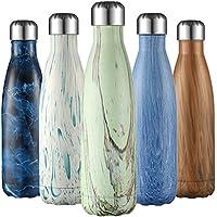 Botella de agua de 500 ml de Liveup SPORTS Aislada al Vacío de Acero Inoxidable Botella de Agua Doble Pared para Mantener sus Bebidas Caliente y Fría, BPA gratis
