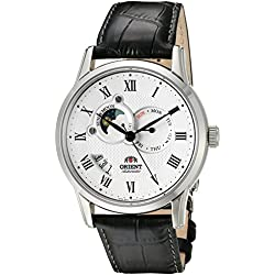 Orient Men's Sun and Moon Version 2 42.5mm Black Leather Band Steel Case Automatic Watch FET0T002S0