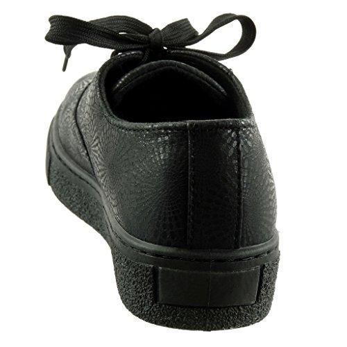 Angkorly Scarpe da Moda Sneaker Donna Fiori Lucide Tacco Tacco Piatto 3 cm Nero