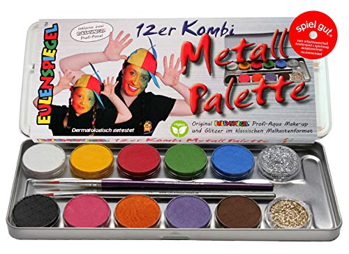 Eulenspiegel Schminkpalette aus Metall, 2 Glitzer, 2 Pinsel, 10 Farben (Make-up Pinsel Set-braun)