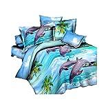 4Brilliant Romantic Delfine 3D Prints Bettbezug Set für Doppelbett Größe