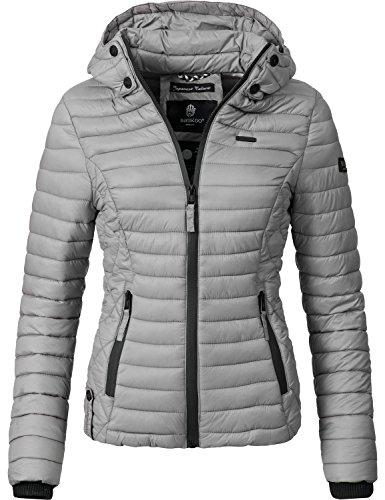 Marikoo Damen Übergangs-Jacke Jacke Steppjacke Samtpfote Grau Gr. L