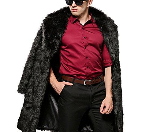 Invernale giacca lungo cappotto cappotti giacca outwear di pelliccia sintetica da uomo xl nero