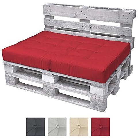 Beautissu ECO Elements Coussins pour Canape Euro Palette - Assise, banquette - 120x80x15cm - Rouge