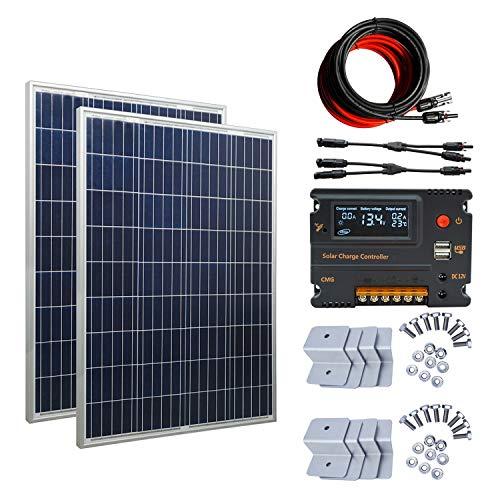Paquete incluido   Paneles solares polivinílicos de 2pcs 100w  2 soportes de montaje Z  Regulador de carga de 1pc 20A para compensación de temperatura  Adaptador de cable de extensión de 16 '(16' negro y 16 'rojo)  Conector bifurcado MC4 de una rama...