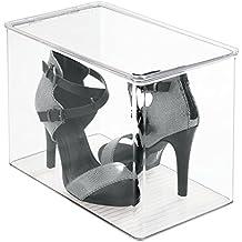 mDesign - Caja organizadora para almacenamiento de calzado en el armario; organiza tacos altos, tacones, botas - Claro