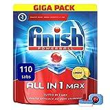 Finish All in 1 Max Pastiglie Lavastoviglie, Limone, 110 Tabs