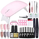 Modelones UV Nagellack Starter Set Kit Mit UV/LED lichthärtungsgerät Mini Nageltrockner Top Coat Base Coat und 6 Gellacke