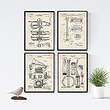 Nacnic Vintage - Pack de 4 Láminas con Patentes de Música. Set de Posters con inventos y Patentes...
