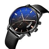 Uhr, Herrenuhren, Herren Casual Style Fashion Business Luxusuhren mit Kalender, multifunktionale wasserdichte Quarz-Armbanduhr (BlackRose)