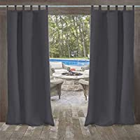 UniEco Outdoor Curtain Garden Patio Balloon Curtains Blackout Curtains Waterproof Mildew Resistant for Pavilion Beach House, 1 Piece, 132x275cm, Carbon Grey