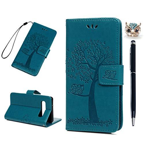 S10 Handyhülle Kompatible für Samsung Galaxy S10 Hülle Wallet Case Cover PU Leder Tasche Eule Baum Muster Flipcase Schutzhülle Handytasche Skin Ständer Klapphülle Schale Bumper Magnet-Türkis - Wallet Skin Case