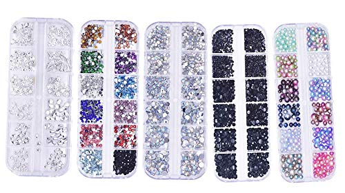 5500 Stück Nail Art Strasssteine Nagel Kunst Strass 5 Boxen Flache Rückseite Diamanten Kristalle Chamäleon Perlen Edelsteine