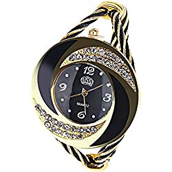 Elegant Round Dial Crystal Decoration Bangle Cuff Bracelet Watch for Women Ladies