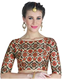 cb0ad151154c3 STUDIO SHRINGAAR WOMEN S POLY SILK DIGITAL PRINTED MULTI-COLOUR SAREE BLOUSE  WITH BOAT NECK.