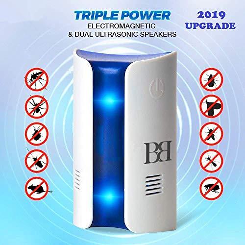 BBmarket Repellente Ultrasuoni per Topi, Zanzare, Insetti con luce di cortesia, tasto soft touch accensione, luce blu rilassante con effetto punto luce. Innoquo per gli animali domestici.