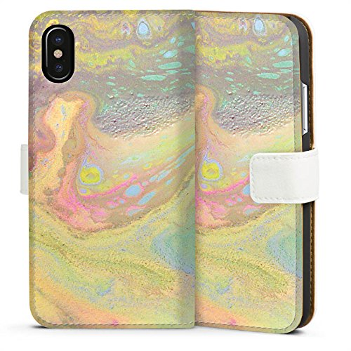 Apple iPhone 8 Silikon Hülle Case Schutzhülle Perlmutt Muster Wasserfarbe Sideflip Tasche weiß