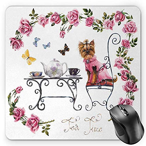 BGLKCS Yorkie Mauspads Mouse Pad, Yorkshire Terrier in Pink Dress Having a Tea Party Tea Time Butterflies Roses, Standard Size Rectangle Non-Slip Rubber Mousepad, Pale Pink White -