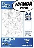 Clairefontaine 94038C Manga Block Storyboard (ideal für Zeichen von Manga und Multitechniken, DIN A4, 21 x 29,7 cm, 100 Blatt, 55 g, mit sechsteiligem Raster) weiß