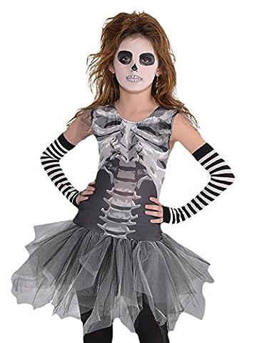 erdbeerloft - Mädchen Karneval Halloween Kostüm Knochen Kleid , Grau, 128-140, 8-10 Jahre