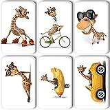 Merchandise for Fans Lustige Giraffe auf Rollschuhen/im Auto/im Flugzeug - 6 rechteckige Kühlschrankmagnete 7 x 4,5 cm - 01 für Memoboard Pinnwand Magnettafel Whiteboard