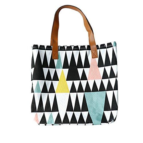 Znvmi Faltbar Stoff Wäsche Tasche Wäschekorb Wäschebeutel Baumwolltasche Tote Bag Shopper Bag Handtasche mit PU-Leder Henkeln Aufbewahrungstasche - Dreieck (Korb Tote Handtasche)