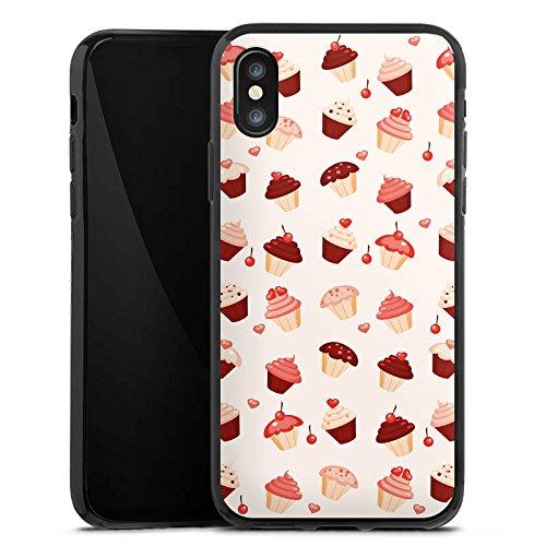 Apple iPhone X Silikon Hülle Case Schutzhülle Sweet Süß Cupcake Silikon Case schwarz