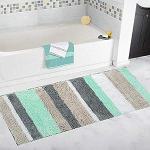 Pauwer Mikrofaser Badezimmerteppich rutschfest Waschbar Saugfähig Badematten Badvorleger Duschteppich,45 x 120 cm,Grün